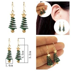 Green and Gold Spiral Christmas Tree Drop Earrings